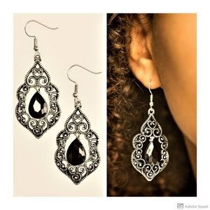 Work The CROWN - Black Faceted Glass Earrings